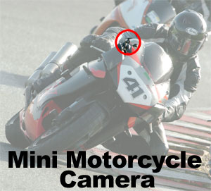 Mini bullet camera on motorcycle