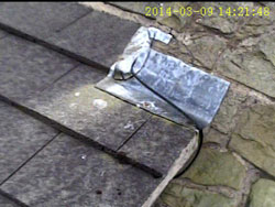 Photo from wireless roof inspection pole camera